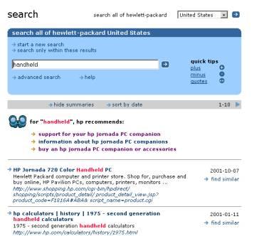 Skärmbild som visar sökfunktion på HP:s webbplats.