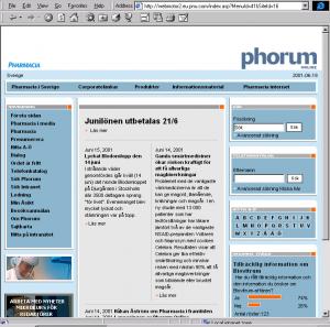 Skärmbild av Pharmacias intranät.