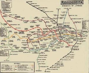 Tidig karta över Londons tunnelbana
