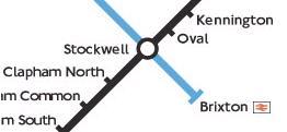 Stockwell är knutpunkt för två tunnelbanelinjer, Brixton är ändstation med anknytning till fjärrtåg.