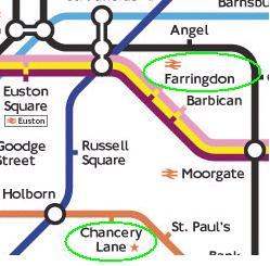Avståndet mellan Chancery Lane och Farringdon är i verkligheten hälften så långt som avståndet mellan Chancery Lane och St. Pauls...