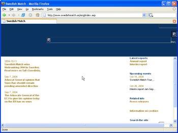 Skärmdump från Swedish Match webbplats.